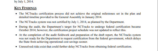 NCTracks audit