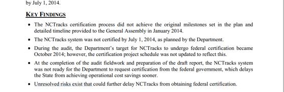 NCTracks audit